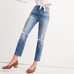 Madewell Slim Boyfriend High Rise Distressed Jeans